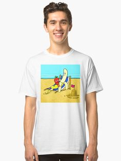 'Strawberry And Banana On Vacation' Classic T-Shirt by jaggerstudios Cartoon T Shirts, Iphone Case, V Neck T Shirt, Classic T Shirts, Strawberry, Banana, Sticker, Vacation, Hoodies