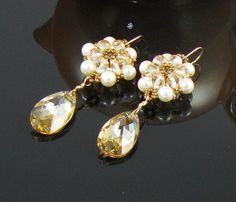 Gold Crystal Pearl Champagne Beaded Flower Drop by BestDayBridal