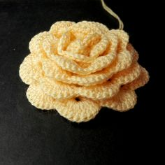Rolled up crochet rose, wrong side