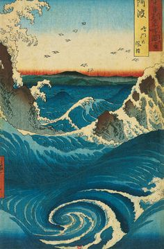 Naruto Whirlpool, Awa Province (from the series views of famous places in the provinces) Ukiyo-e (woodblock print) Utagawa Hiroshige Japanese Waves, Japanese Prints, Arte Peculiar, Japon Tokyo, Japanese Woodcut, Art Asiatique, Naruto, Kunst Poster, Art Et Illustration
