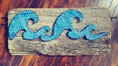 String Art- barn board, old wood, nails, waves, blue, colour Made By: Jennifer MacLeod Schutt