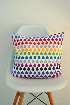 "Raindrop Cushion Cover 18"" - Multicolour"