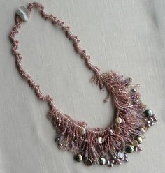 Pink Beadwork Jewelry Necklace  Pearls by StoneDesignsbySheila
