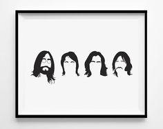 Die Beatles - Beatles Kunstdruck - Beatles Silhouetten - 1969 - John Lennon - Rock'n'Roll Kunst - schwarz und weiß