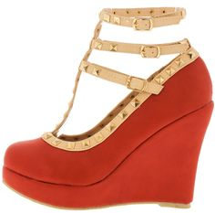 TINA8 CORAL T-STRAP STUDDED WEDGE August 2015 Online Shopping Haul via @WholesaleFashionShoes  Follow Me At Pinterest/MissyK'sCloset