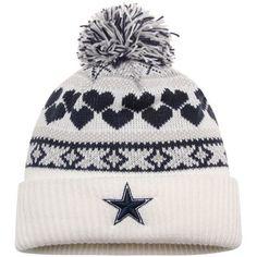 Cowboys Womens New Era Winter Cutie Cuffed Knit Hat with Pom – White baba7ecb7cf