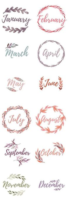 Printable Bullet Journal Monthly Cover Pages. Water color