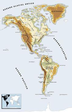 Mapa físico de América Logo Del America, Geography Map, Asia Map, Map Art, Diagram, Maps, Chris Evans, Krishna, Biomes