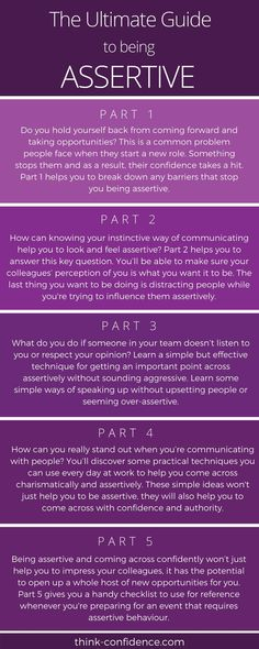 Click infographic - Comprehensive Guide to being ASSERTIVE. Learn how to get your point across without distracting people or seeming aggressive. Assertive Communication, Communication Skills, Social Work, Social Skills, Self Development, Personal Development, Life Skills, Life Lessons, Assertiveness