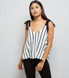 Petite White Stripe Tie Strap Cami | New Look