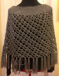 Crochet Spiral Poncho in Grey with Fringe by HandmadebyHeikeHeart