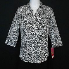 Womens Sz S 212 Collection Cotton Stretch Zebra Black Print 3/4 Sleeve Shirt #BlouseShirt #AnimalPrint www.bevsthisnthatshop.com