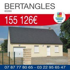 #ResidencesPicardes vous propose ce pavillon #RT2012 combles aménageables comprenant 1 chambre, une salle de bains et un garage sur un terrain de 439 m² à BERTANGLES (80260) pour 155 126€ TTC*