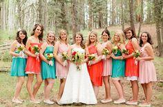 love these dresses.Best Day Ever Wedding: Sarah + Tyler Aqua Wedding, Wedding Bells, Wedding Colors, Wedding Gowns, Dream Wedding, Wedding Day, Teal Bridesmaid Dresses, Bridesmaids, Best Day Ever