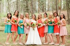 Bridesmaids in pink, red and teal!