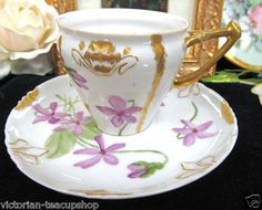 VINTAGE JP LIMOGES FRANCE  CUP AND SAUCER VIOLETS TEACUP DEMITASSE