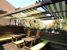 #outdoor #green #skylight #terrace   www.decoradesign.ro Skylight, Terrace, Pergola, Outdoor Structures, Restaurant, Interior, Outdoor Decor, Green, Projects