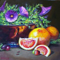 Donna Munsch Fine Art: Original Oil Painting Grapefruit Petunias