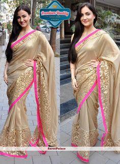 Elli Avram Style Gold Shaded Georgette Saree
