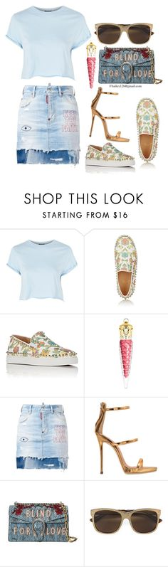 """""""Untitled #964"""" by fbailey126 ❤ liked on Polyvore featuring Topshop, Christian Louboutin, Dsquared2, Giuseppe Zanotti and Gucci"""
