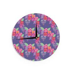 "Kess InHouse Anneline Sophia Beautifully Boho"" Purple Wall Clock 12"" (Beautifully Boho) (Wood)"