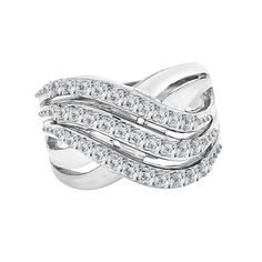 White Rhodium Plated Metal, Fancy Wave Layer Design Wide Band Ring Created CZ Crystals Size 09.0. White rhodium plated base metal. Sparkly and shimmering round synthetic cubic zirconia stones adorn the ring. Elegant and unique design is stylish and stunning on the finger. The center design at the widest spot is around 14mm wide. Comfortable and easy to wear.