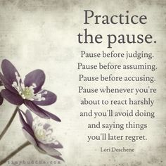 """Pause whenever you're about to react harshly and you'll avoid doing and saying things you'll later regret."""