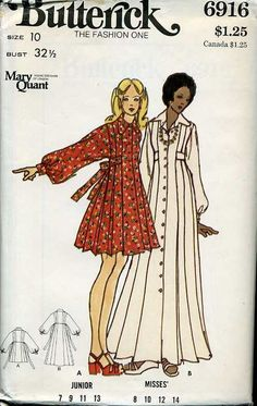 Sewing Retro Patterns Butterick 6916 Mary Quant Young Designer of London 60s And 70s Fashion, Retro Fashion, Vintage Fashion, Seventies Fashion, Vintage Dress Patterns, Clothing Patterns, Vintage Outfits, Vintage Dresses, Moda Vintage