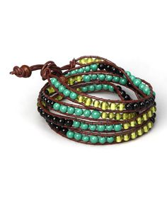 Look at this ZAD Green  & Yellow Color Block Bead Wrap Bracelet on #zulily today!