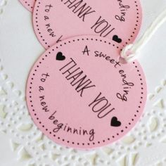 New thank you tags available in my shop. They are perfect for you wedding or bridal shower favors ❤