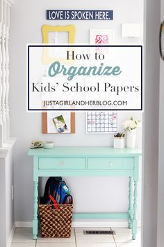 This system for organizing kids' papers makes so much sense! We need to do this in our house!   JustAGirlAndHerBlog.com