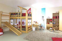 Children's high beds with slide de Breuyn loft bed with slide High Beds, Low Loft Beds, Cheap Furniture, Kids Furniture, Pirate Bedding, Bunk Bed With Slide, Girls Bedroom Sets, Play Beds, Triple Bunk Beds