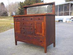 Antique Mission Furniture For Sale | Antique Mission Oak Sideboard Buffet with a mirror back splash.