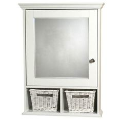 White Surface Mount Medicine Cabinet with Wicker Baskets - White