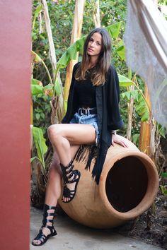 Lace Top: Minusey, Kimono: H&M (Similar), Bag: Proenza Schouler, Belt: Black & Brown London, Shorts: Levi's, Bracelet: Hermes, Watch: Daniel Wellington, Sandals: Dolce & Gabbana
