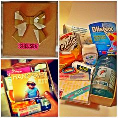 Bachelorette Party Favor: Hangover Kits - supply list and instructions on how to make the adorable origami bow