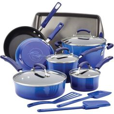 Rachael Ray Hard Enamel Nonstick 14-Piece Cookware Set, Blue Gradient >>> You can find out more details at the link of the image.