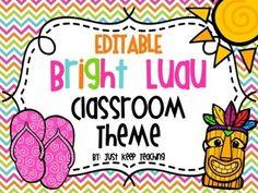 Bright Hawaiian Luau Classroom Theme Set- Rainbow, Beach,