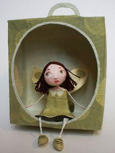 Paper Dolls, Art Dolls, Art Matchbox, Paper Mache Projects, Newspaper Crafts, Ideias Diy, Lovely Creatures, Paperclay, Fabric Wall Art