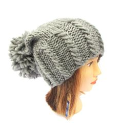 Chunky knit hat  knitted gray hat with large pom by Johannahats