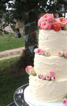 eat pray bake: Wedding 2/3 Wedding Cake, Country, Simple, Buttercream, Real Flowers