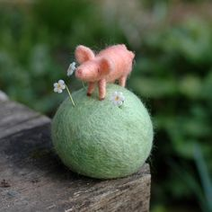 Spring Pig Needle Felted Pin
