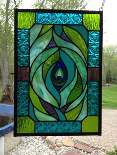 Stained Glass peacock feather panel by dragonflyglas63 on Etsy