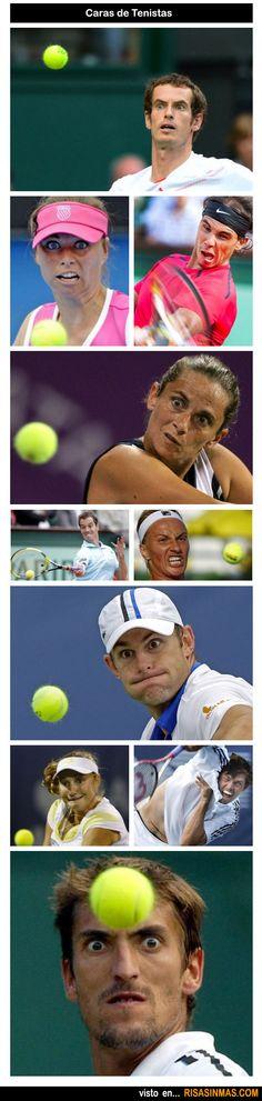 Caras de tenistas.