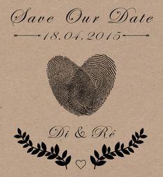 Save the date do casamento com a impressão digital dos noivos - Casamento BOHO