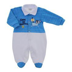 Macacão de Bebê Caça ao Tesouro 9054 - Branco com azul | Cegonha Encantada