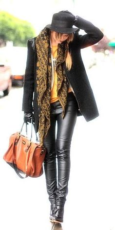 slick leather with soft textured scarves. Love it!