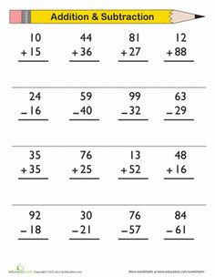 2 Digit Addition & Subtraction Worksheet aith Answer Key, from Education.com. Practice makes perfect! Use this worksheet for a quick practice session in double-digit addition and subtraction for your 1st grader.