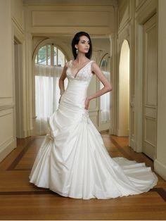 Taffeta Deep Plunging V-Neckline Embroidered Empire Bodice A-line Wedding Dress