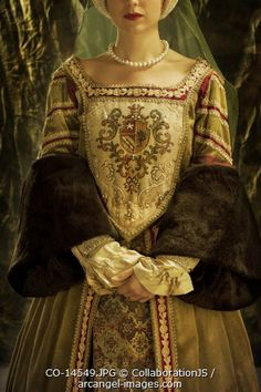 The previous pinner captioned this as a Anne Boleyn style gown.  I love the crest on the bodice. I could care less about the fur cuffs on the sleeves, but the dress itself is beautiful.
